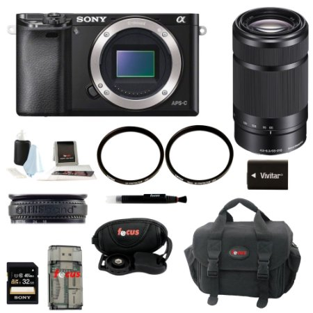 Sony Alpha A6000 Mirrorless Digital Camera (Body) with 55-210mm Lens and 32GB Deluxe Accessory Kit