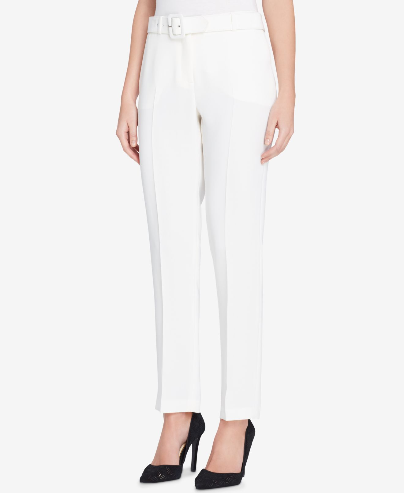 Belted Crepe Pant