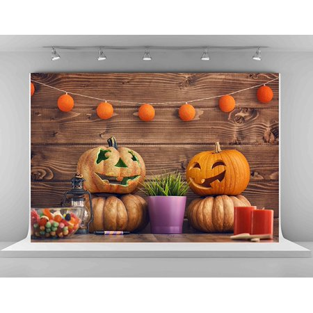 Halloween Wall Backdrops (HelloDecor Polyster Pumpkin Photography Backdrops 7x5ft Brown Wood Wall Photo Background Halloween Decoration)