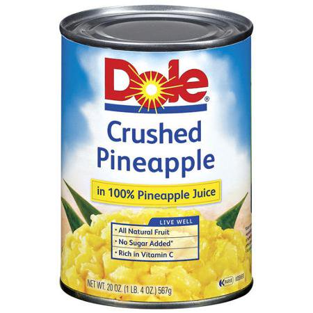 Dole Crushed Pineapple in 100% Pineapple Juice, 20 oz. Can ...
