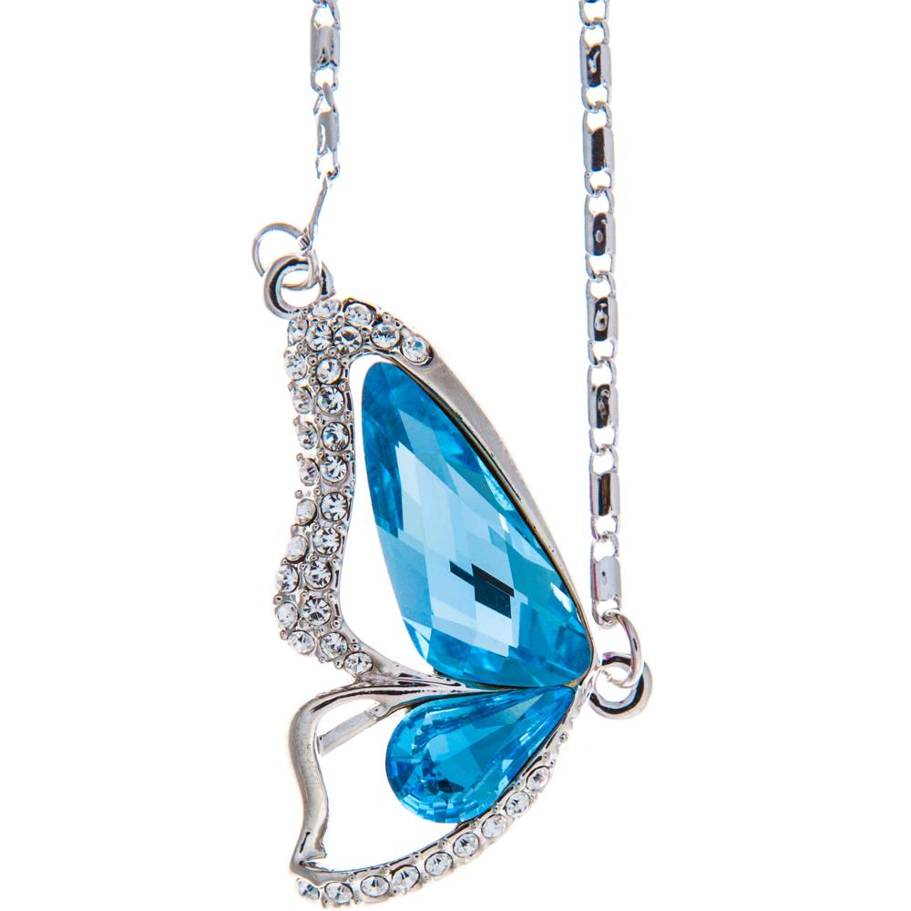 "Rhodium Plated Necklace with Butterfly Wing Design with a 16"" Extendable Chain and High Quality Ocean Blue Crystals by Matashi"