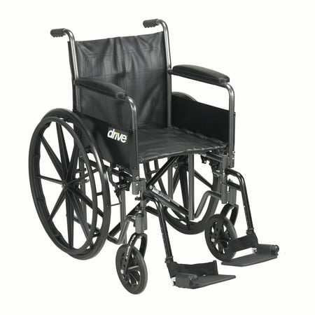 "Drive Medical Silver Sport 2 Wheelchair, Detachable Full Arms, Swing away Footrests, 16"" Seat"