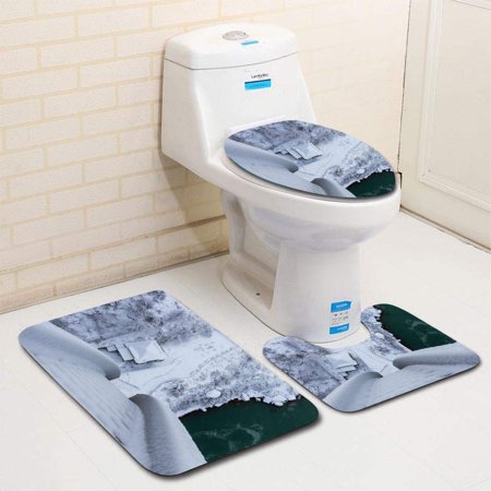 CHAPLLE View from Above in Winter River Bank at American Falls NY 3 Piece Bathroom Rugs Set Bath Rug Contour Mat and Toilet Lid Cover ()