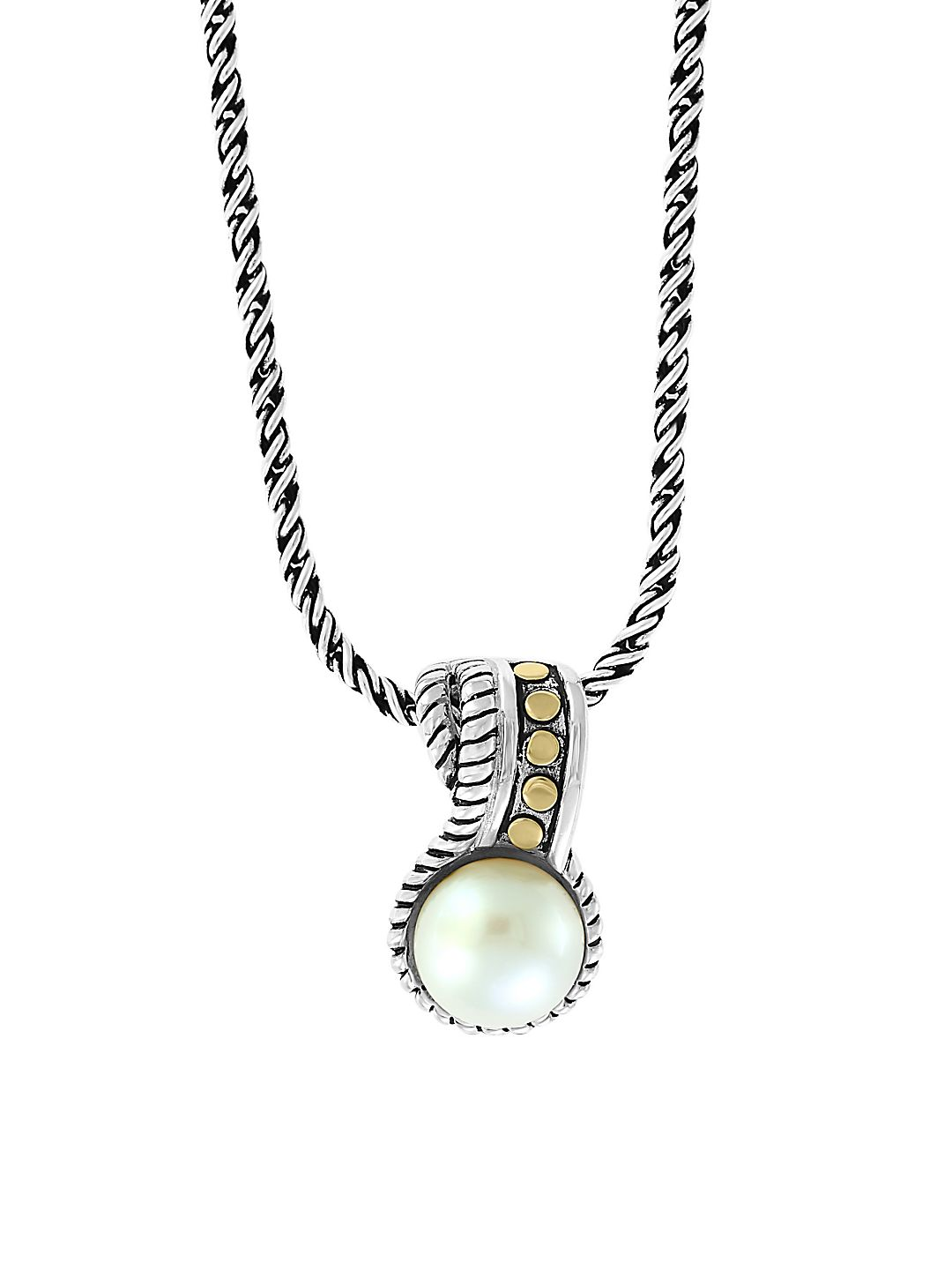 Sterling Silver, 18K Yellow Gold & 9mm White Pearl Pendant Necklace