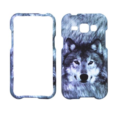 Snow Wolf Case for Samsung Galaxy J1 2016 Designer Cover Protector Snap on Shield Hard Shell Phone (Phone Faceplate Protector Cover Case)