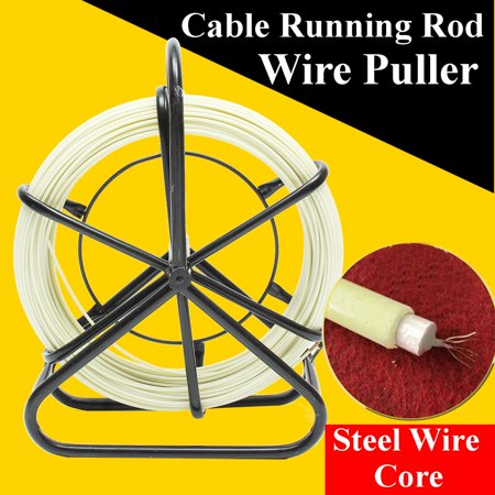 100M Fish Tape Fiberglass Wire Cable Running Rod Duct Rodder Puller 4.5mm