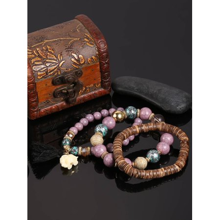 Women Wood Beads Bracelets Fashion Boho Small Elephant Charm Bracelets Set Vintage Style Jewelry