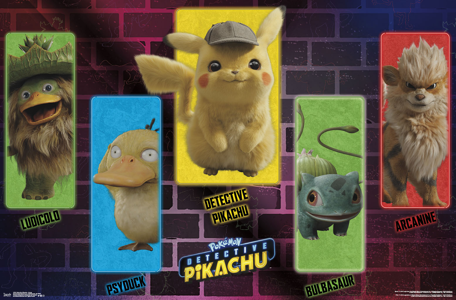 """*New* Pokemon DETECTIVE PIKACHU Movie Neon Wall POSTER 22.375/"""" x 34/"""" Inches!"""