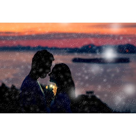 Canvas Print Woman Silhouette People Man Love Shadow Intimate Stretched Canvas 32 x 24