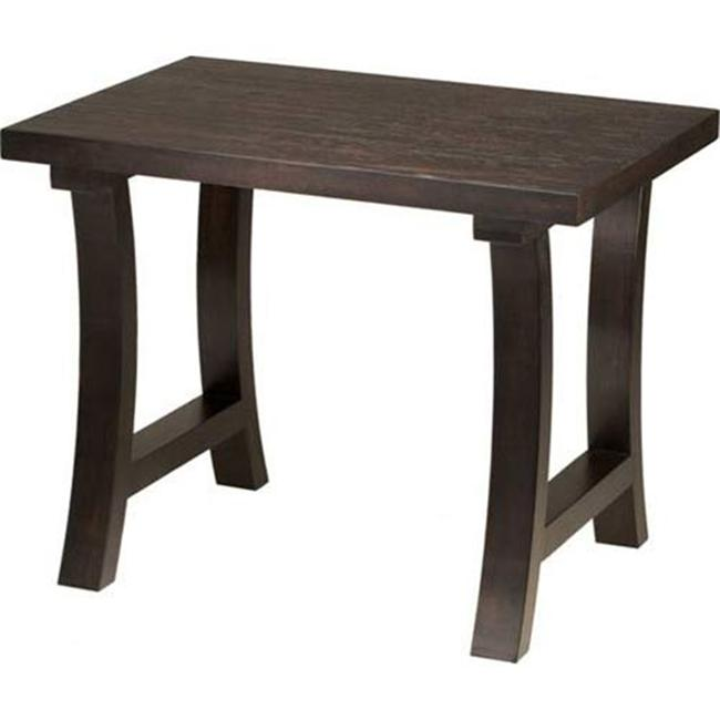TLS by Design 16B-1012-W Hearthstead Lightly Textured-Top End Table - Weathered Mahogany