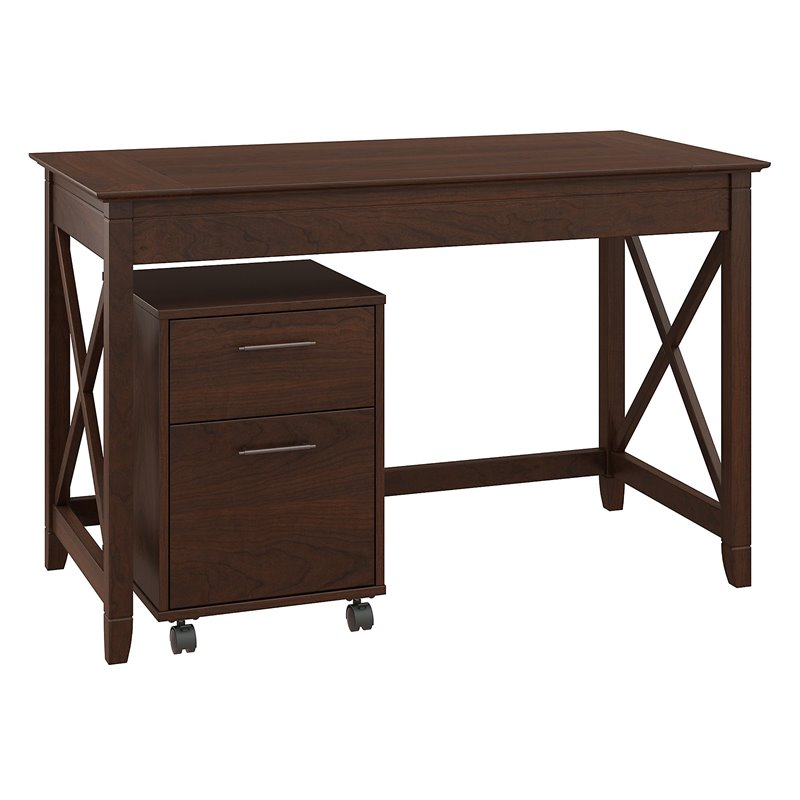 Bush Key West Writing Desk with 2 Drawer Mobile File Cabinet in Cherry