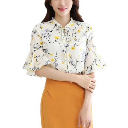Babula Women Summer Chiffon Ruffled Sleeve Blouse Floral Printd T-shirts (Chiffon Ruffle Halter)