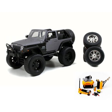 Diecast Car Mechanic Set Package 2007 Jeep Wrangler Charcoal
