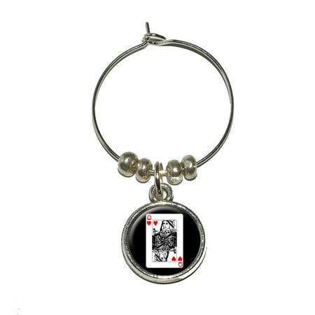Playing Cards Queen of Hearts Wine Glass Charm](Queen Of Hearts Card)