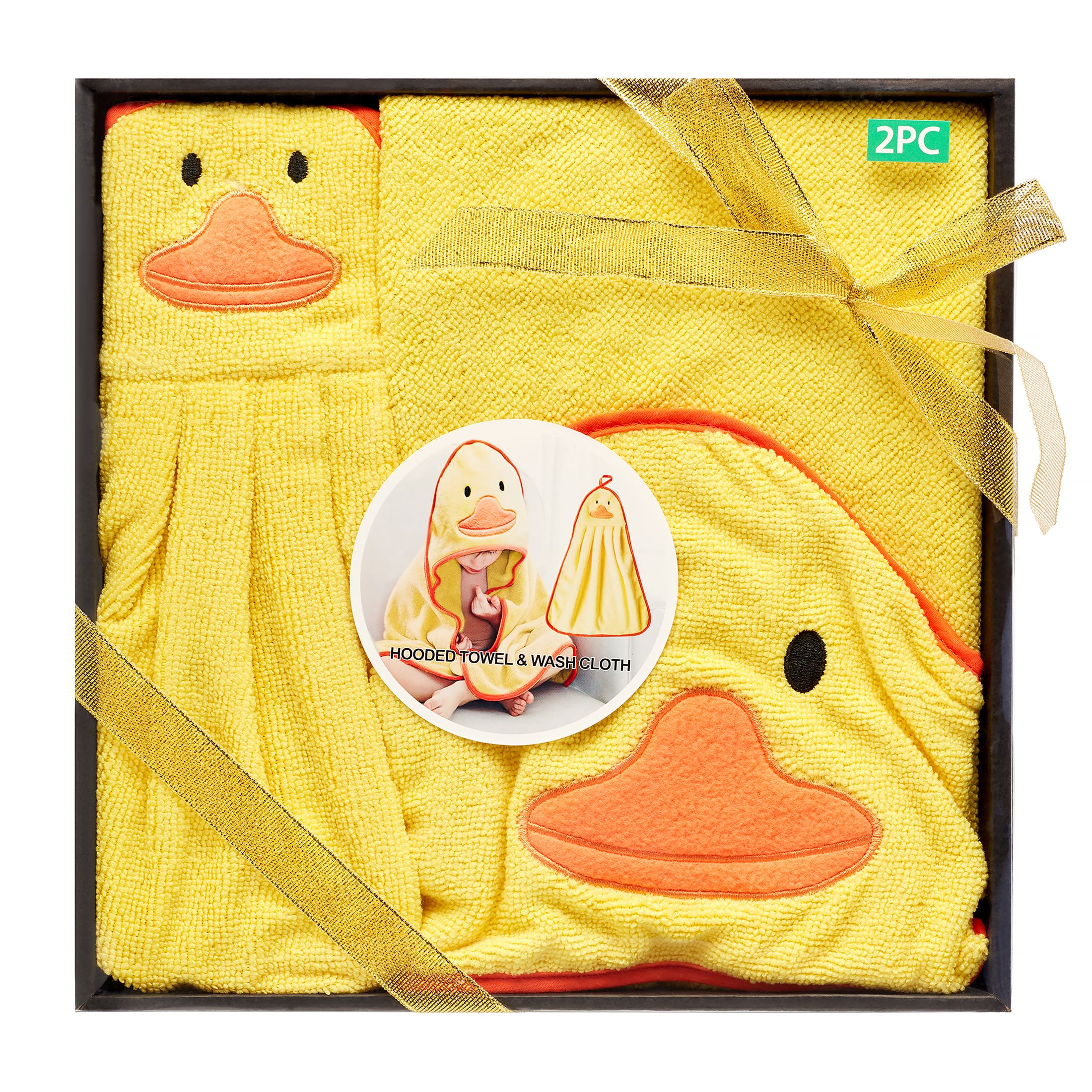 Baby Gift Set YELLOW DUCK BABY Hooded Towel Bath Time Wrap /& 2 Wash cloth Set