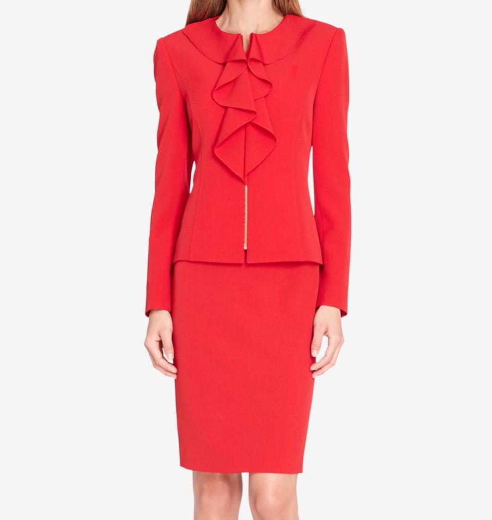 Tahari ASL Womens Plus Size Ruffled Skirt Suit