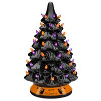 Best Choice Products Pre-Lit 15in Ceramic Halloween Tree Holiday Decoration w/ Orange & Purple Bulb Lights