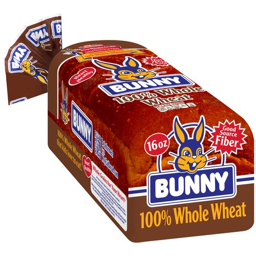 Bunny 100% Whole Wheat Bread, 16 oz by Lewis Bakeries, Inc.