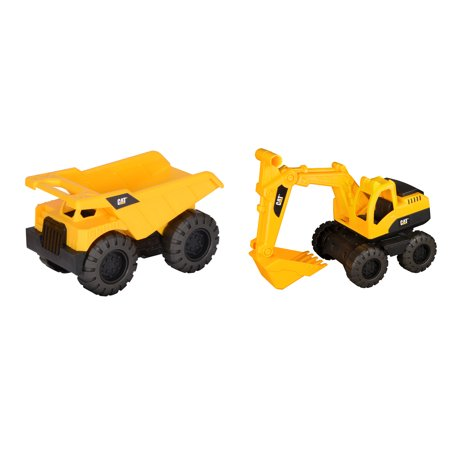 - Caterpillar Tough Tracks Rugged Machine Dump Truck and Excavator 2 pack