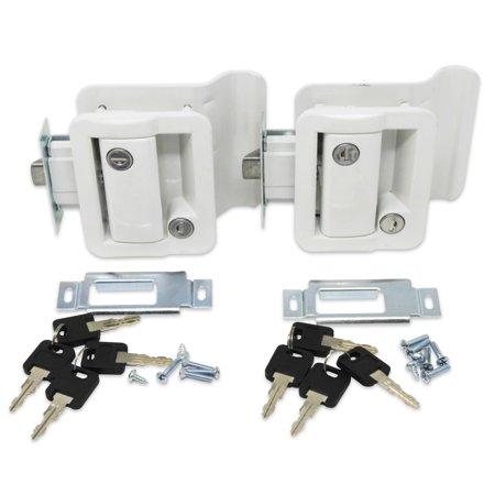 2 Pack White RV Entry Door Lock Handle Knob w/ Deadbolt Camper Travel