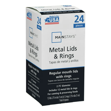 Mainstays Regular Mouth Lids with Rings 12 Regular Mouth Lids