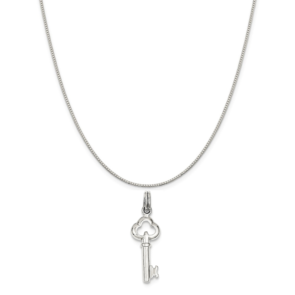 """Sterling Silver Key Charm on a Sterling Silver Box Chain Necklace, 16"""""""