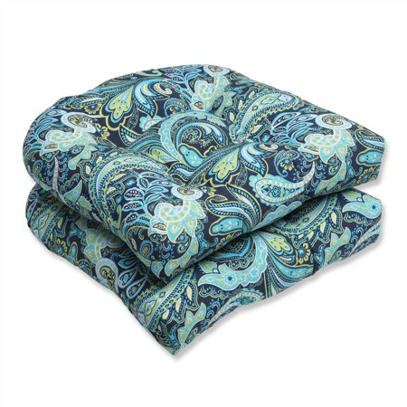 Pillow Perfect Outdoor/ Indoor Pretty Paisley Navy Wicker Seat Cushion (Set of 2)