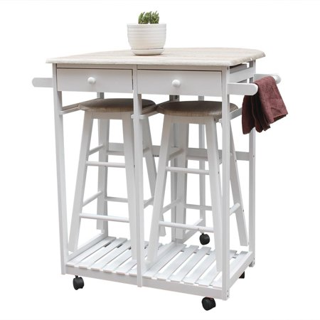 Ktaxon Kitchen Island Trolley Cart 3 Piece Dining Table Set With