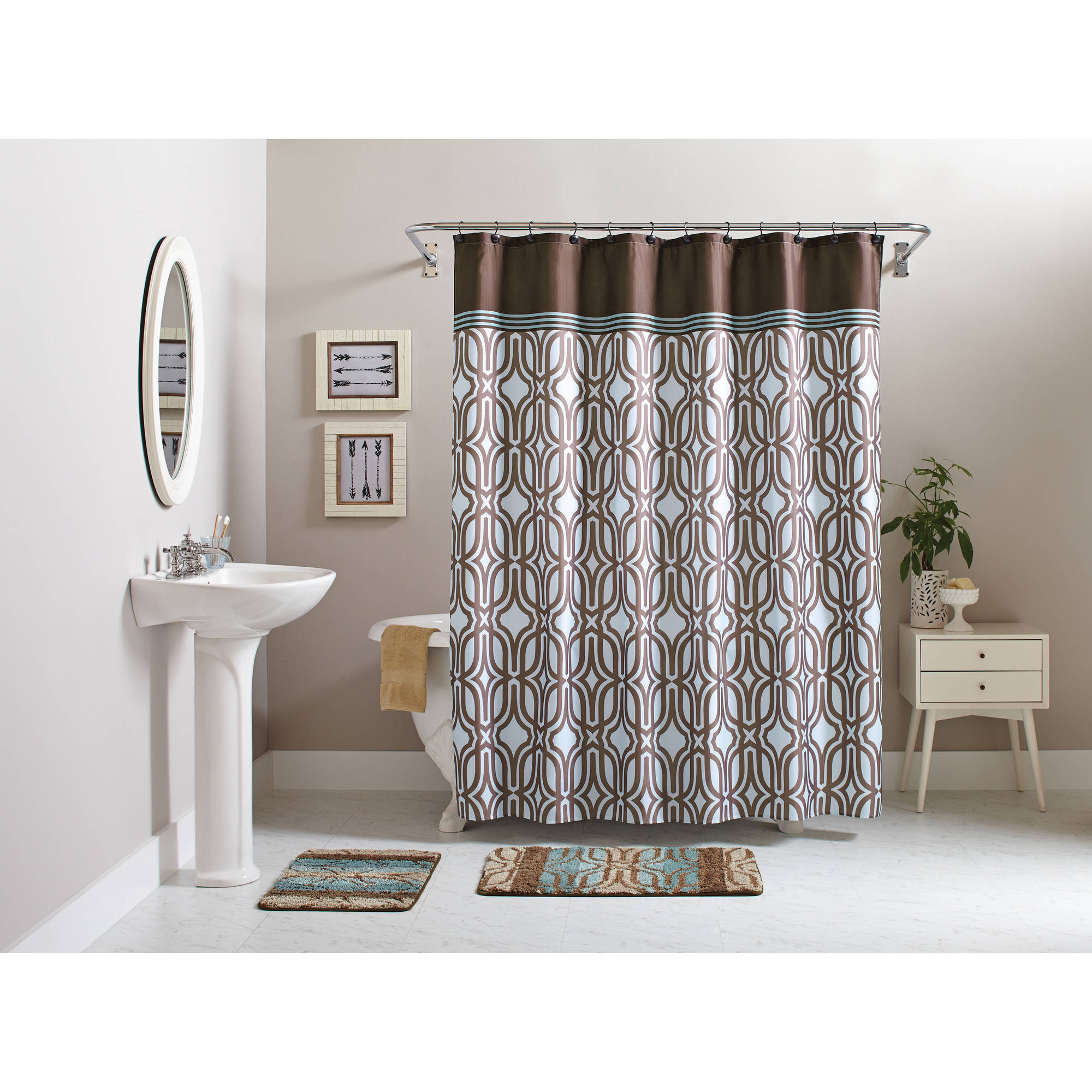 Better Homes and Gardens 15-Piece Geometric Bath Set, Shower Curtain ...