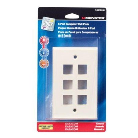 Multi-Media Keystone Wall Plate 6 Port Almond Monster Cable