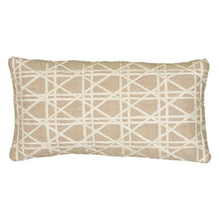 Rizzy Home Caning Pattern Jute / Cotton Filled Decorative Throw Pillow, 11