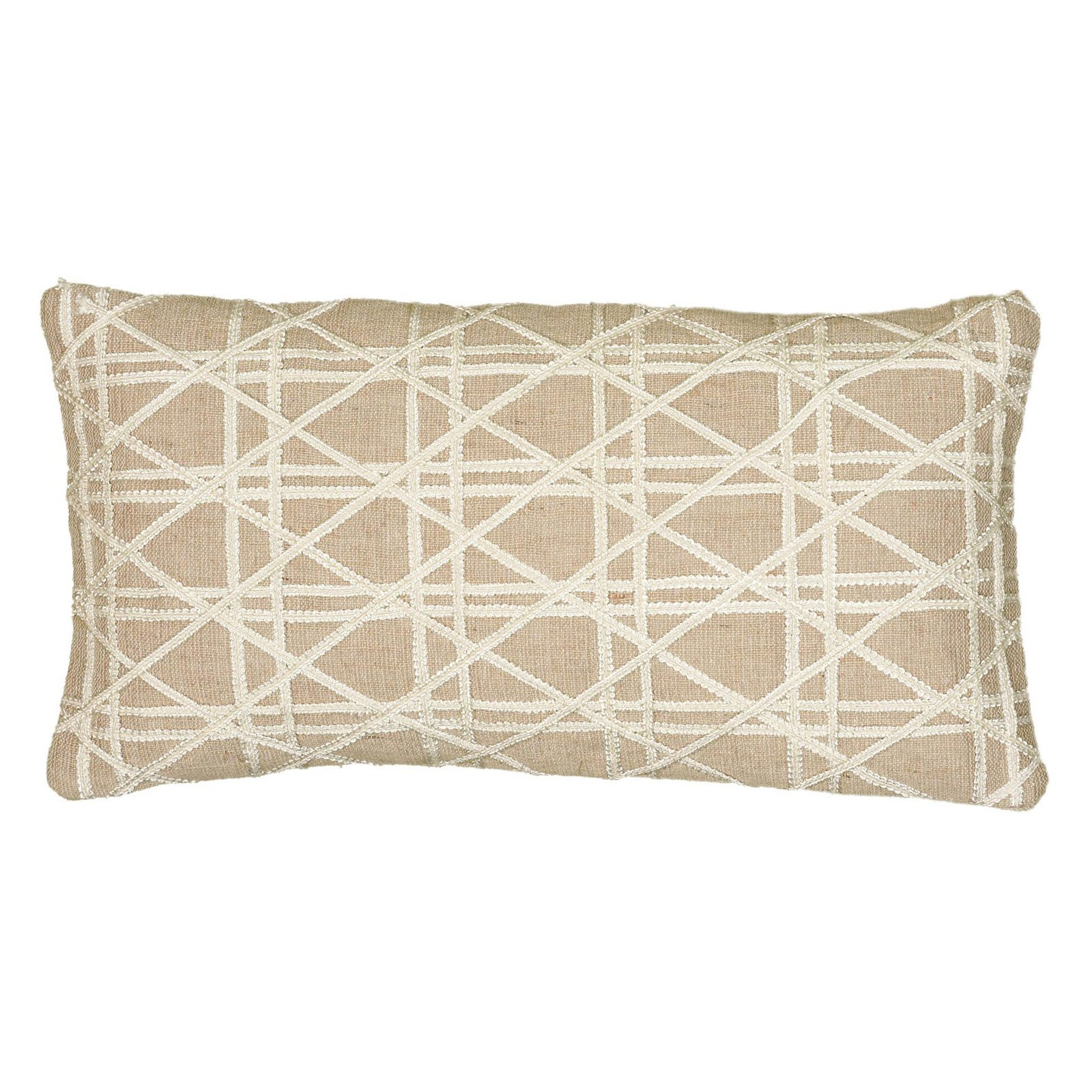 "Rizzy Home Caning Pattern Jute / Cotton Filled Decorative Throw Pillow, 11"" x 22"""