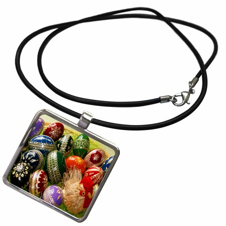 3dRose Chick and Decorative Easter Eggs - Necklace with Pendant - Easter Egg Pendant