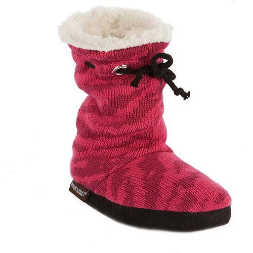 MUK LUKS Molly - Girls Animal Print Scrunched Tie Slipper Boot