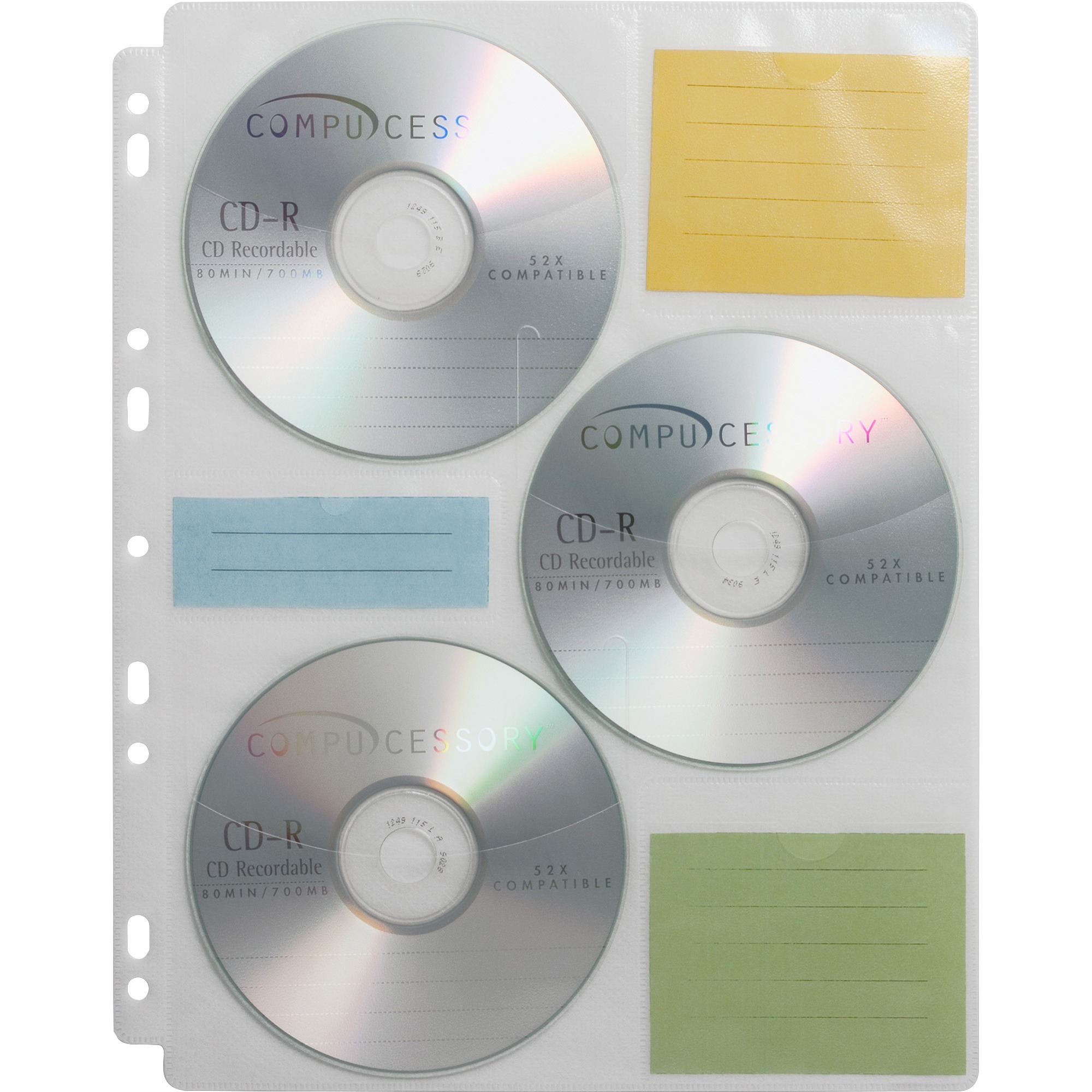 Compucessory, CCS22297, CD/DVD Ring Binder Storage Pages, 25 / Pack, Clear
