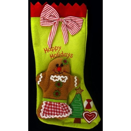 """17"""" Gingerbread Kisses Lime Green and Gingham Red Striped Christmas Stocking - image 1 de 1"""