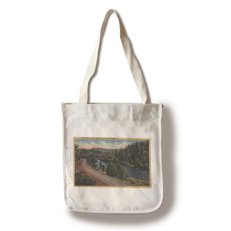 - Crater Lake, Oregon - Upper Rogue River on Highway (100% Cotton Tote Bag - Reusable)