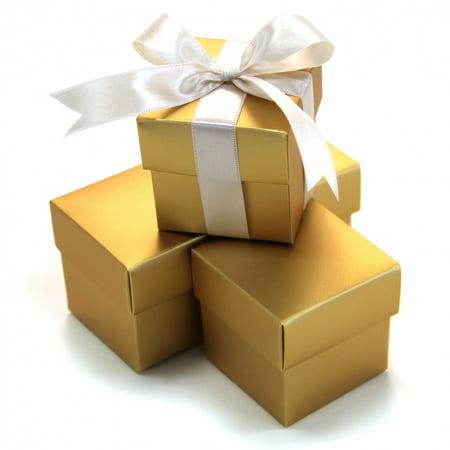 Koyal 2-Piece 10-Pack Square Favor Boxes, - Gold Favor Boxes