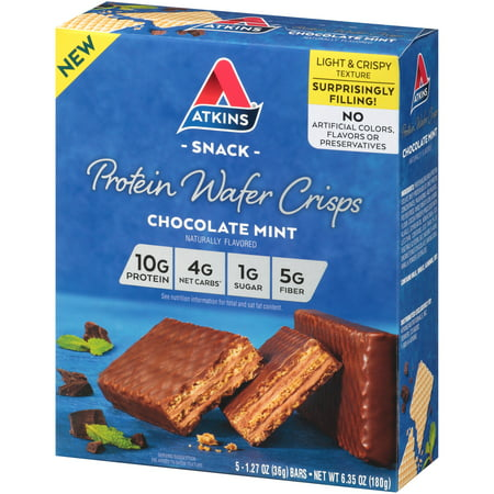 Atkins Chocolate Mint Protein Wafer Crisp, 1.27 oz, 5-pack (Snack Bar) - High Protein Snack Bar