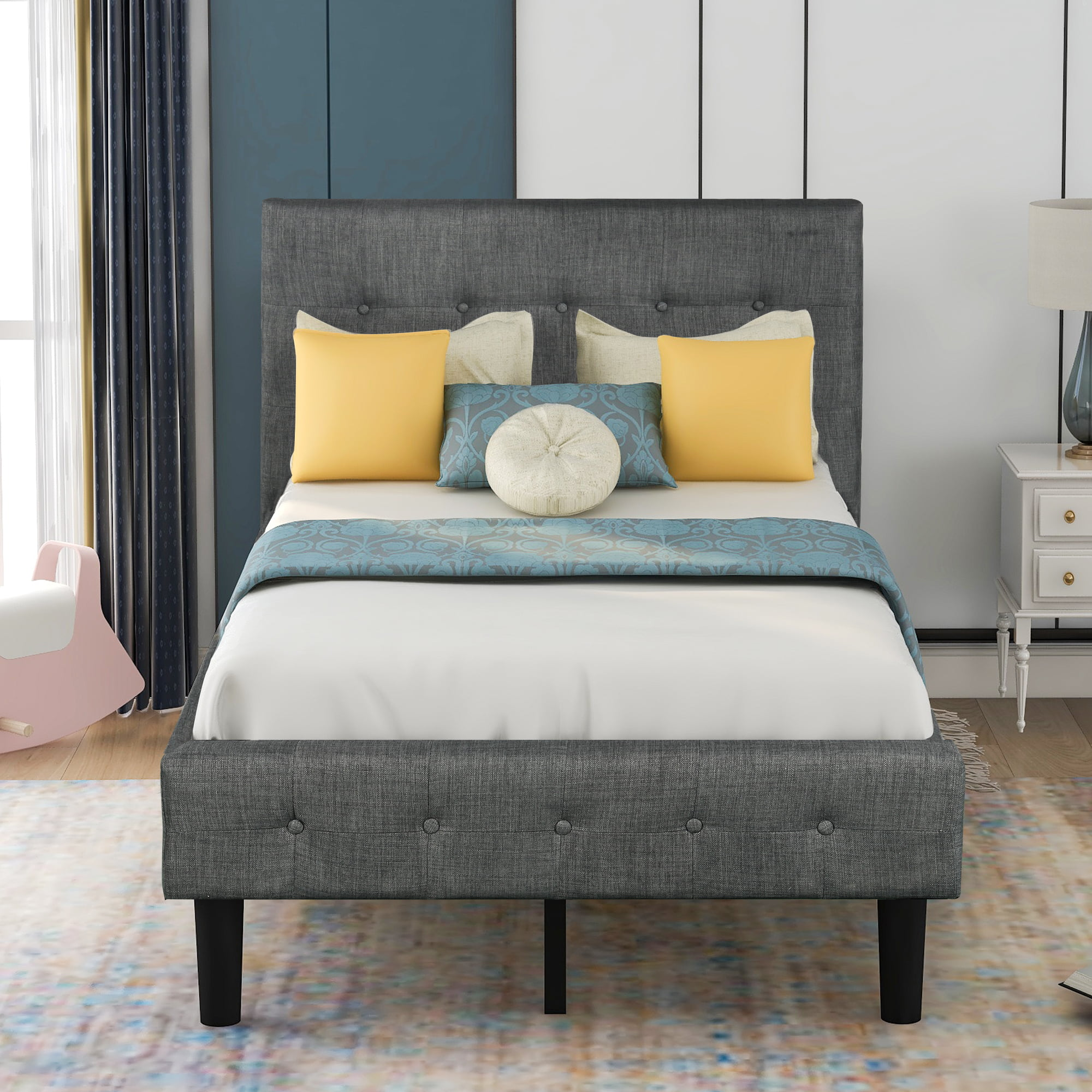 Modern Upholstered Platform Twin Bed Frame, Heavy Duty ...