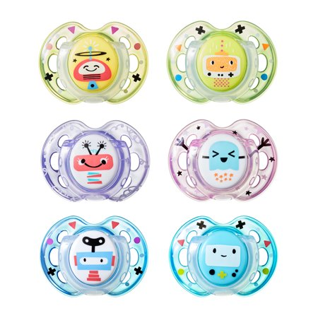 Funny Baby Pacifiers (Tommee Tippee Closer to Nature Fun Baby Pacifiers, 0-6 months - 2 count (Colors May)