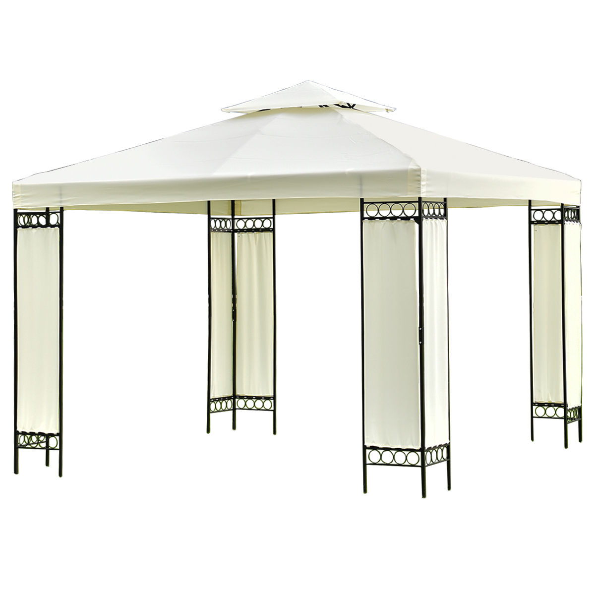 Gymax 10'x10' 2-Tier Gazebo Canopy Shelter Wedding Party Tent by Gymax