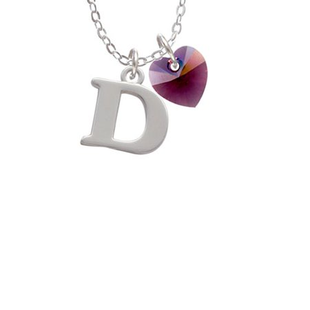 - Large Initial - D -  - Purple Crystal Heart Sophia Necklace, 18