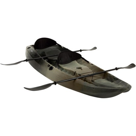 Lifetime  10  3 Man Sport Fisher Kayak  Camouflage  With Bonus Backrests And Paddles
