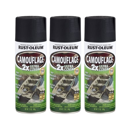 (3 Pack) Rust Oleum Ultra Cover Camo Flat Black Spray Paint - Blacklight Spray