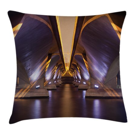 Ancient Decor Throw Pillow Cushion Cover, Sci Fi Style Asian Ethnic Modern Road Tunnel Urban Light Show City Image, Decorative Square Accent Pillow Case, 18 X 18 Inches, Purple Golden, by (Best Sci Fi Artists)