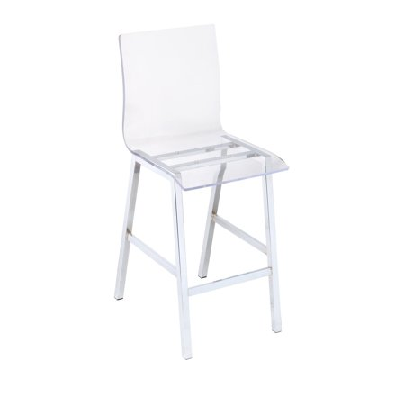 Acme Na Counter Height Chair Acrylic And Chrome Set Of 2