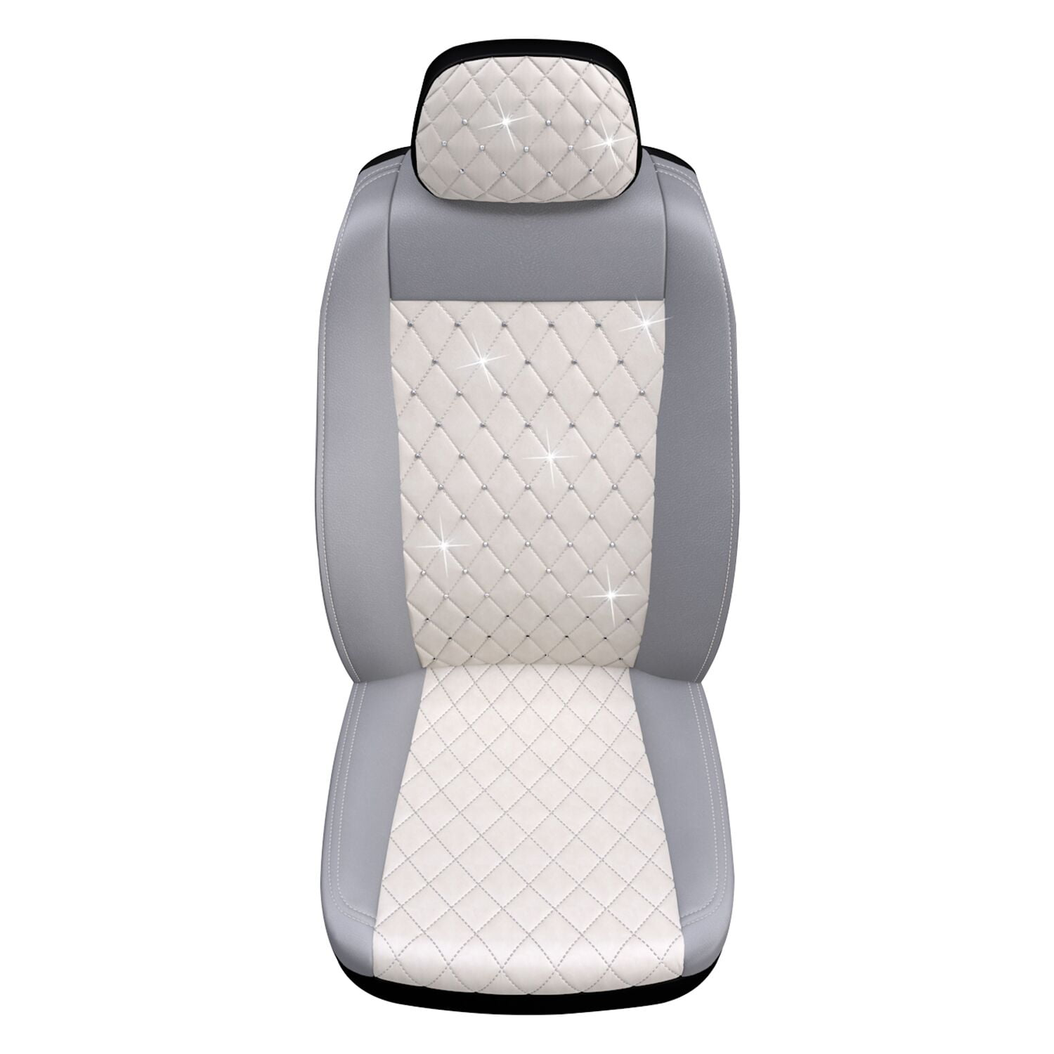 Premium Diamond Seat Cover with Crystals from Swarovski, White