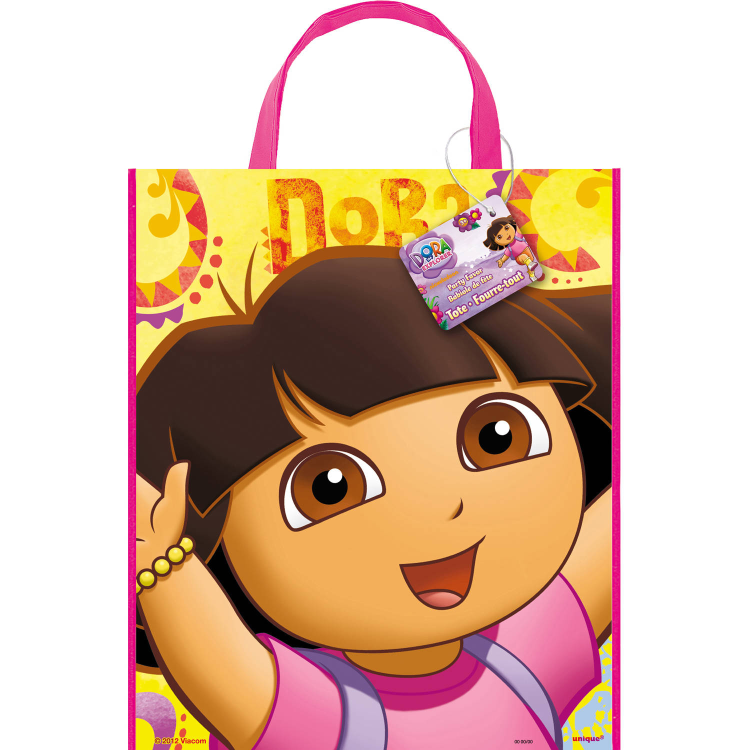 "Large Plastic Dora the Explorer Favor Bag, 13"" x 11"""
