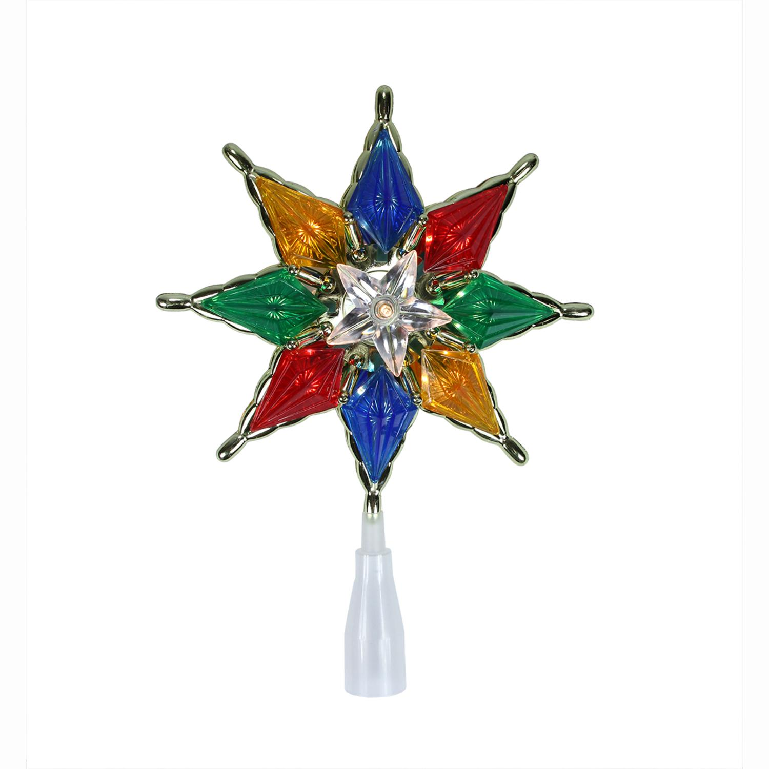 "8"" Lighted 8-Point Multi-Color Star Christmas Tree Topper - Clear Lights"